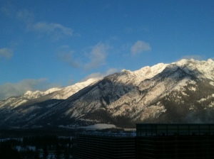 view out of the window of the restaurant at the Banff Centre